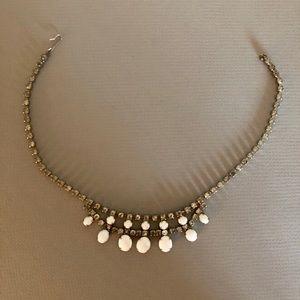 "Vintage milk glass and rhinestone necklace 16"""